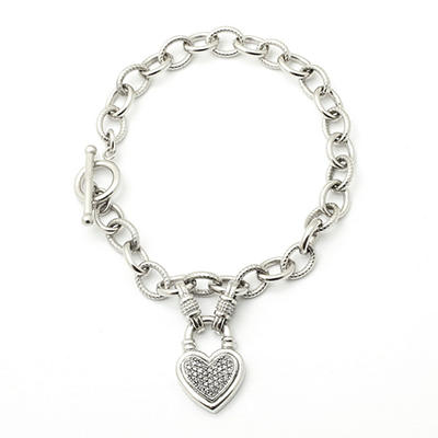 0.20 CT. T.W. Silver Diamond Heart Toggle Bracelet (I, I1)
