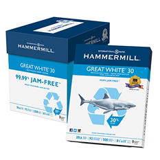 "Hammermill Great White Copy Paper, 30% Recycled, 20lb, 92 Bright, 8 1/2"" x 11"", 2,500 Sheets"