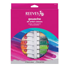 Reeves Non-Toxic Artists Gouache Paint Set, 0.4 Ounce Tube, Assorted Opaque Color, Set of 24