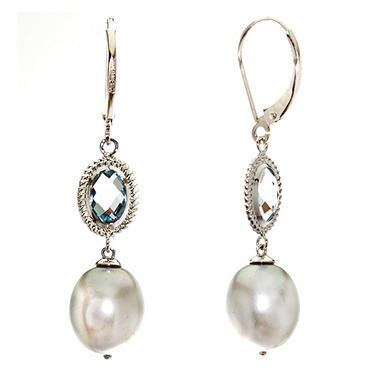 2.5 ct. t.w. Blue Topaz & Pearl Earrings in 14K White Gold