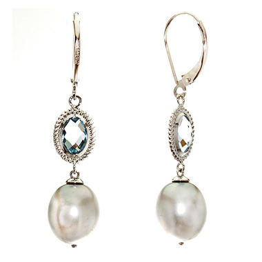 2.5 ct. t.w. Blue Topaz & Pearl Earrings in 14K White Gold