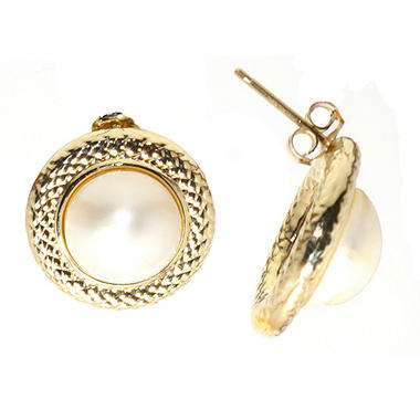 10mm Round Mabe Pearl Earrings in 14K Yellow Gold