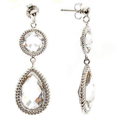 6.25 ct. t.w. Crystal Quartz Dangle Earrings in 14K White Gold