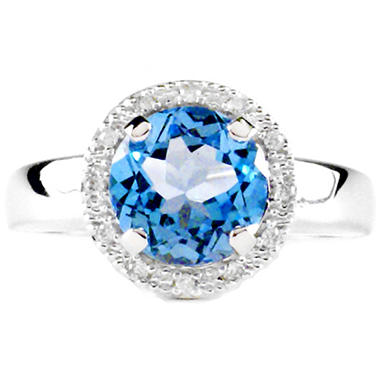 1.88 ct. t.w. Blue Topaz and Diamond Ring