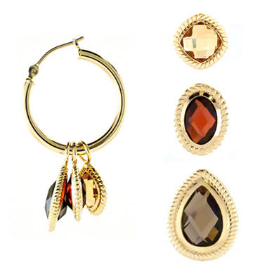 8 ct. t.w. Interchangeable Gemstone Hoop Earrings