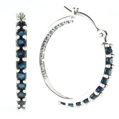 Sapphire and Diamond Inside-Out Hoop Earrings
