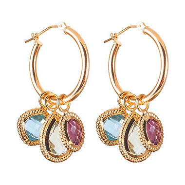 Semi Precious Gemstone Interchangeable Hoop Earring in 14K Yellow Gold