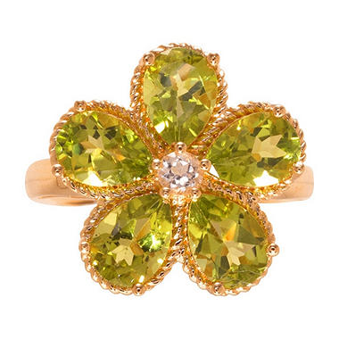 Pear-Shaped Peridot Flower Ring with White Topaz in 14K Yellow Gold