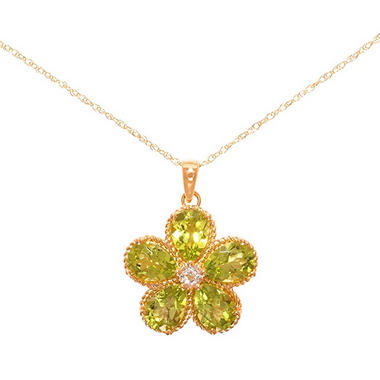 Pear-Shaped Peridot Flower Pendant with White Topaz in 14K Yellow Gold