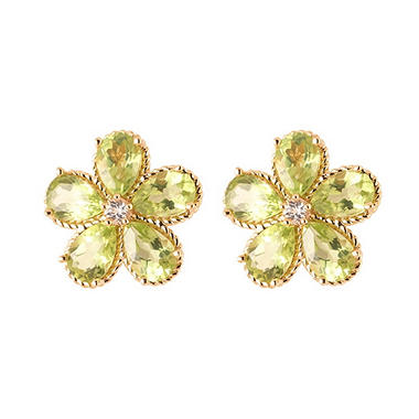 Pear-Shaped Peridot Flower Earrings with White Topaz in 14K Yellow Gold