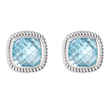 5.0 ct. t.w. Cushion Cut Blue Topaz Stud Earrings in 14k White Gold