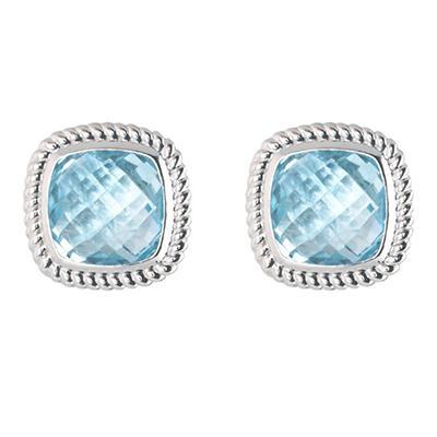 5.0 ct. t.w. Cushion Cut Blue Topaz Stud Earrings in 14k White Gold