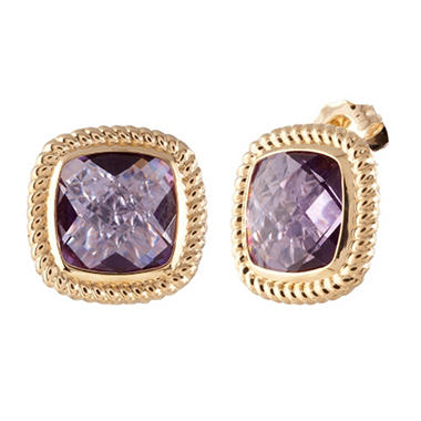 Cushion-Cut Amethyst Stud Earrings in 14K Yellow Gold