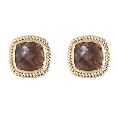 Cushion-Cut Smokey Quartz Stud Earrings in 14K Yellow Gold