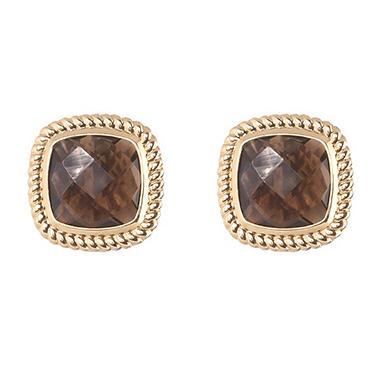 Cushion-Cut Smokey Quartz Stud Earrings in 14K Yellow Gold
