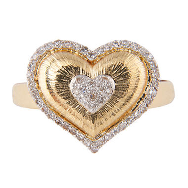 0.15 ct. t.w. Round Diamond Heart Ring in 14k Yellow Gold (H-I, I1)