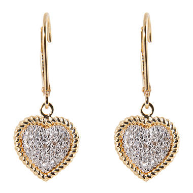 0.10 ct. t.w. Round Diamond Heart Earrings in 14k Yellow Gold (H-I, I1)