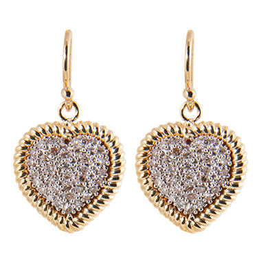 0.20 ct. t.w. Round Diamond Heart with Rope-Trim Earrings in 14k Yellow Gold (H-I, I1)