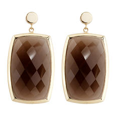 20 CT. T.W. Smokey Quartz Dangle Earrings in 14K Yellow Gold