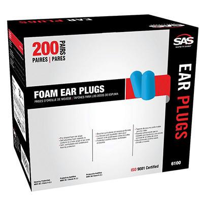 SAS Foam Ear Plugs - Blue - 1 pk. - 200 pairs