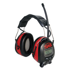 SAS Earmuffs, Digital AM/FM Radio Hearing Protection - Black/Red - 1 pair