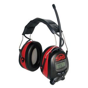 SAS Earmuffs, Digital AM/FM Radio Hearing Protection - Black/Red - 1 pair