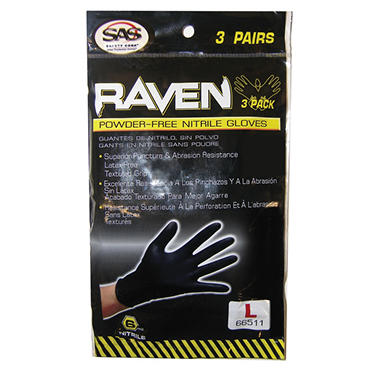 Raven Extra-Strength Professional Grade 6mil Disposable Nitrile Gloves - Black - Large - 3 pk. - 25 ct.