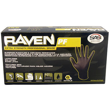 Raven Extra-Strength Professional Grade Gloves, Black, Small - 1000 ct.