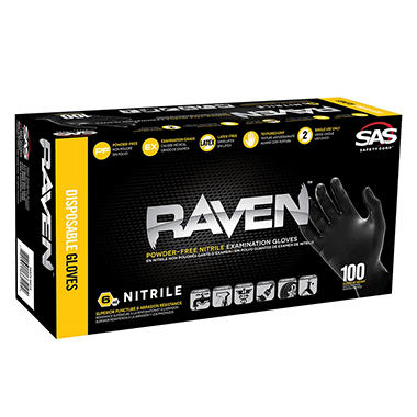Raven Extra-Strength Professional Grade Gloves, Black, Large - 100 ct.