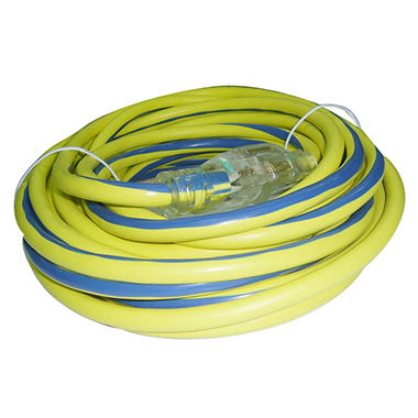 Tuff Cord Lighted Outdoor Extension Cord - Yellow and Blue - 50'