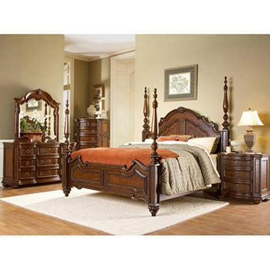 Aubrey Queen Canopy Bed Set - 5 pcs.