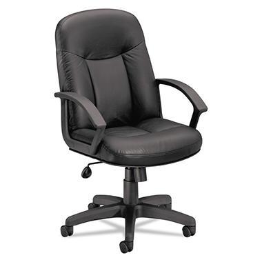 basyx by HON - VL601 Leather Mid- Back Swivel/Tilt Chair, Metal - Black