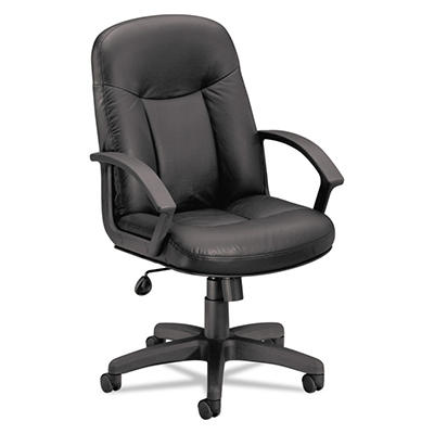 HON VL601 Leather Mid- Back Swivel/Tilt Chair, Black