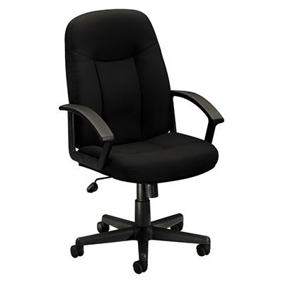 basyx by HON - VL601 Series Managerial Mid- Back Swivel/Tilt Chair - Black Fabric & Frame