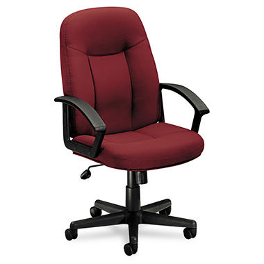 basyx by HON - VL601 Series Managerial Mid- Back Swivel/Tilt Chair - Burgundy Fabric/Black Frame