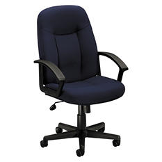 basyx by HON - VL601 Series Managerial Mid- Back Swivel/Tilt Chair - Navy Fabric/Black Frame