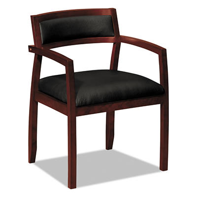 basyx by HON - Wood Guest Chairs with Black Leather Seat/Upholstered Back - Mahogany Finish