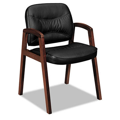 basyx by HON - VL800 Series Guest Chair with Wood Arms - Black Leather/Mahogany Finish