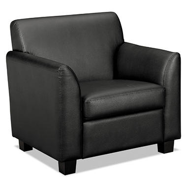 "basyx by HON - Tailored Black Leather Club Chair, Wood Legs - 33""W x 28- 3/4""D x 32""H"