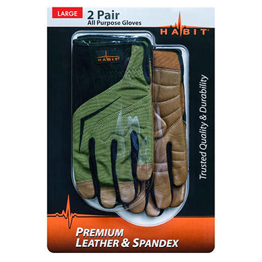 Habit® Large Leather and Spandex All Purpose Work Glove - 2 Pk