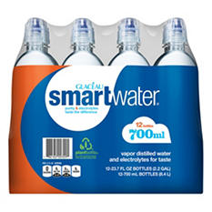 Glaceau SmartWater Water with Sports Cap (700ML bottles, 12 pk.)