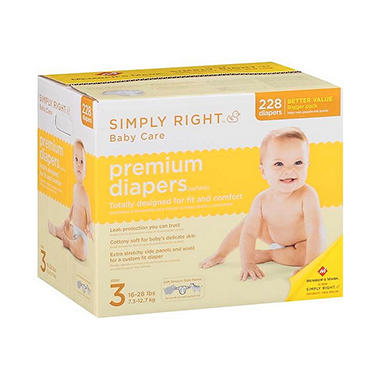 Simply Right Premium Diapers, Size 3 (16-28 lbs.), 228 ct.