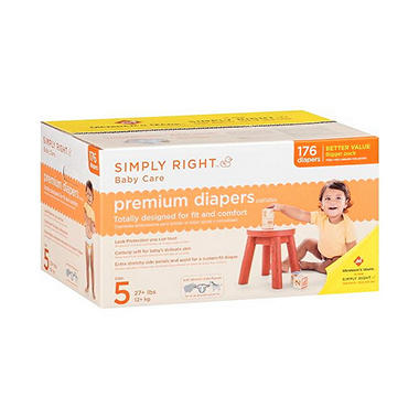 Simply Right Premium Diapers, Size 5 (27+ lbs.), 176 ct.