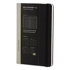 Moleskine - Professional Notebook, 5 x 8 1/4, Black Cover -  240 Sheets