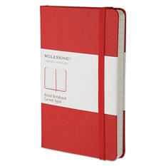 Moleskine - Hard Cover Notebook, Plain, 5 1/2 x 3 1/2, Red Cover -  192 Sheets