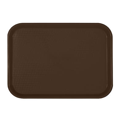 "Excellant� Rectangular Plastic Fast Food Tray - Brown - 14"" X 17.75"" - 6 pc."