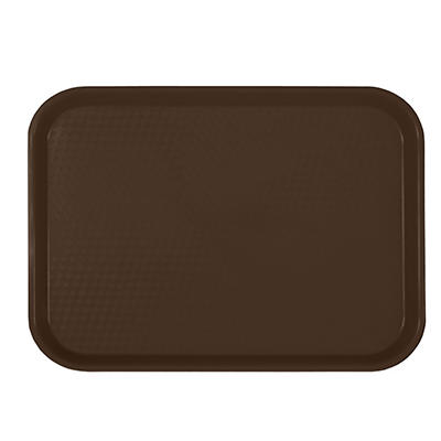 "Excellanté Rectangular Plastic Fast Food Tray - Brown - 14"" X 17.75"" - 6 pc."