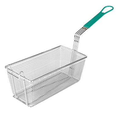 "Rectangular Fry Basket with Blue Handle - 13"" x 6.5"" x 5"""