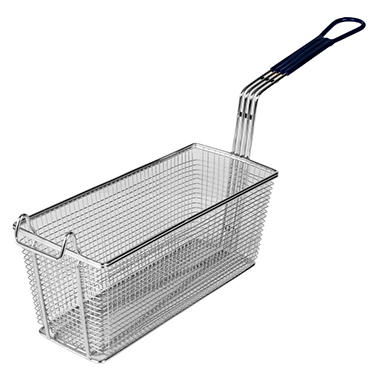 "Rectangular Fry Basket with Blue Handle - 13.5"" x 5.75"" x 5.75"""