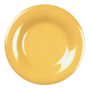 Melamine Wide Rim Round Plate - Yellow - 12 pk. - Various Sizes